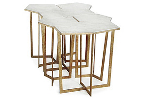 S/6 Travertine Puzzle Table, Gold Leaf*