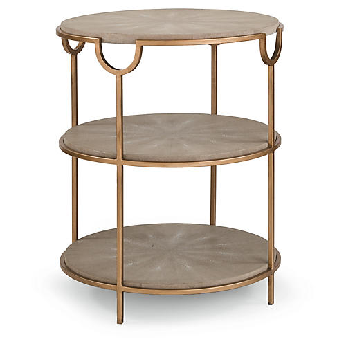 Vogue Tiered Side Table, Ivory/Gray