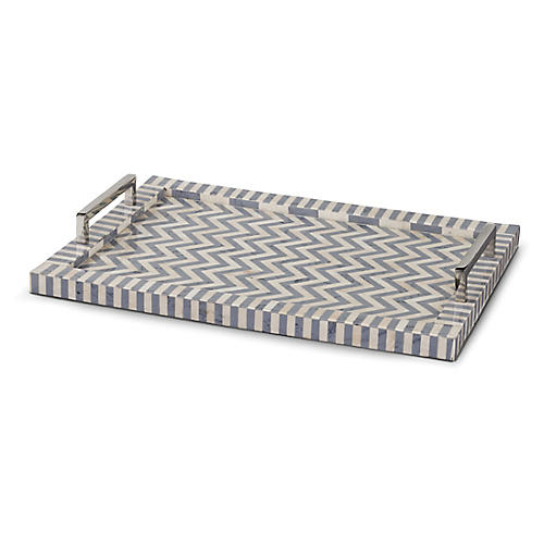"20"" Chevron Tray, Gray"