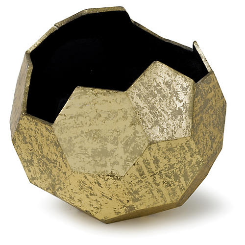 Polyhedron Vase, Antique Gold