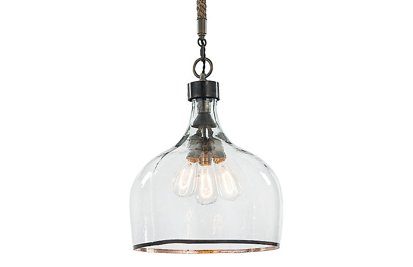 Large Demi John Glass Pendant, Clear