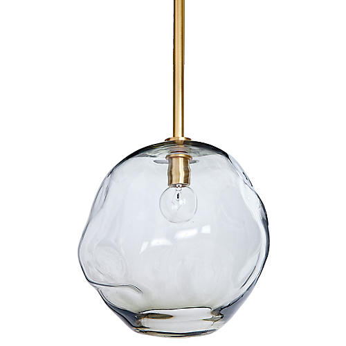 Large Molten Transparent Pendant, Brass