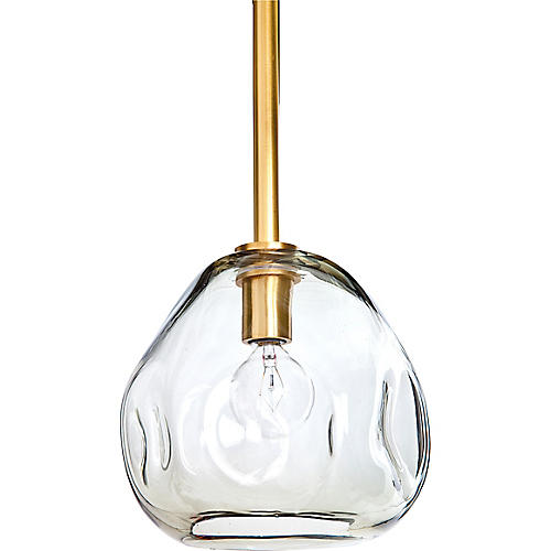 Small Molten Transparent Pendant, Brass