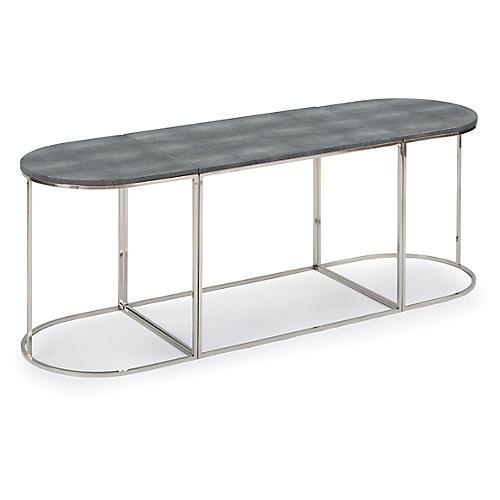 Faux-Shagreen Coffee Table, Nickel/Slate