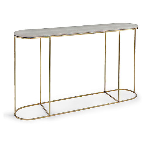 Faux-Shagreen Console, Brass/Ivory