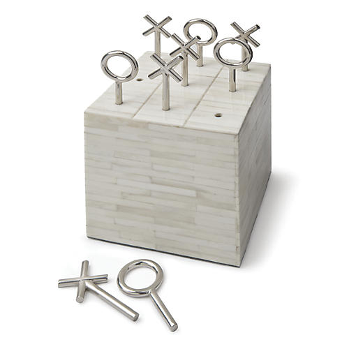 "7"" Bone Block Tic Tac Toe, White"