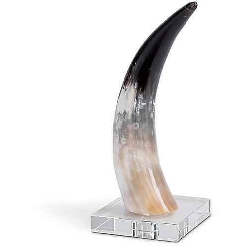 Horn On Crystal Base, Beige/Multi
