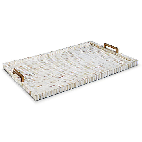 "24"" Bone & Brass Tray, Multi"