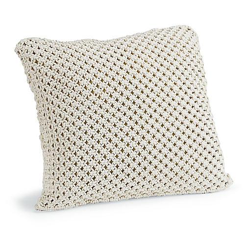Marcel 22x22 Macrame Pillow, White