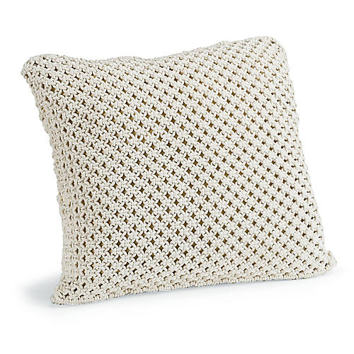 Marcel 22x22 Macrame Pillow, White
