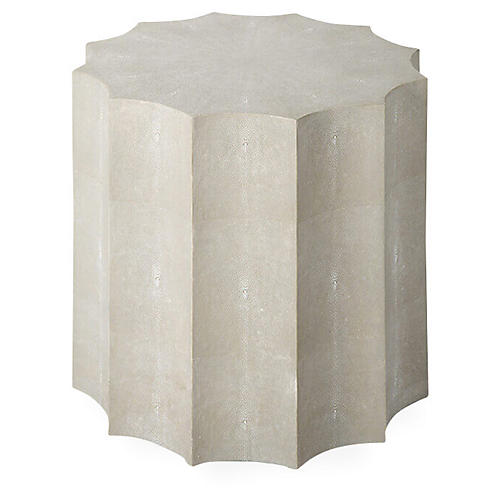 Marilyn Faux-Shagreen Side Table, Ivory/Gray