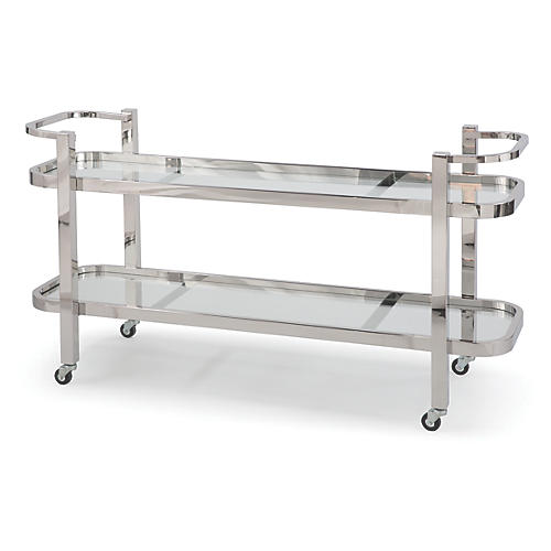 Carter Bar Cart, Polished Nickel/Clear