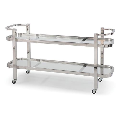 Carter Bar Cart, Polished Nickel/Clear