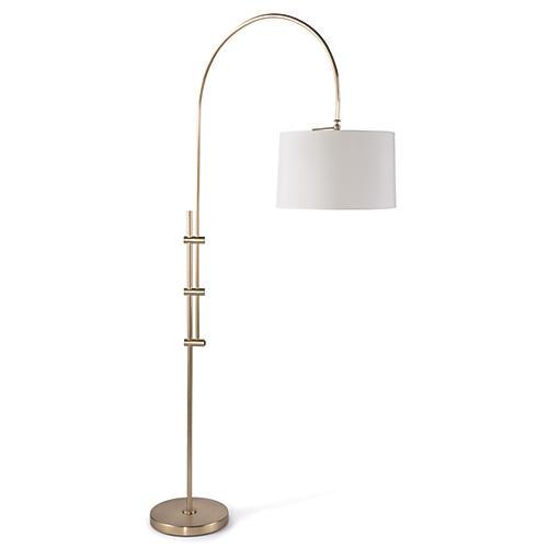 Arc Floor Lamp, Brass/White