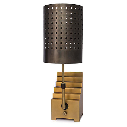Escher Bookend Table Lamp, Natural Brass/Bronze