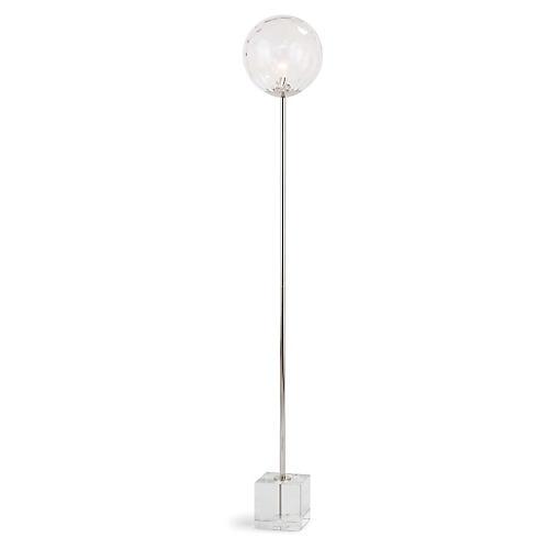 Rio Floor Lamp, Clear/Polished Nickel