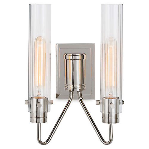 Neo 2-Light Sconce, Polished Nickel