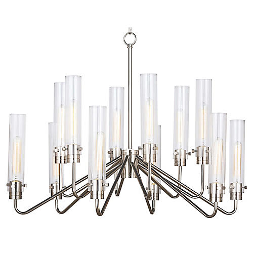 Neo 12-Light Chandelier, Polished Nickel
