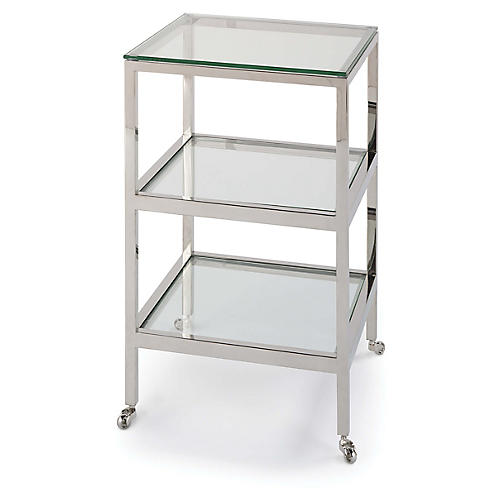 Alister Side Table, Polished Nickel