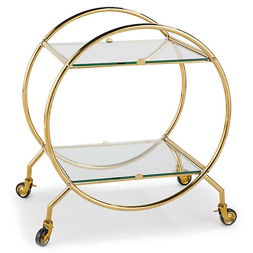Whiskey Bar Cart, Gold