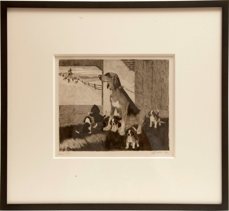 Dog Etching by Bert Cobb II
