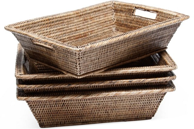 Wicker Baskets w/ Handles, Set of 4