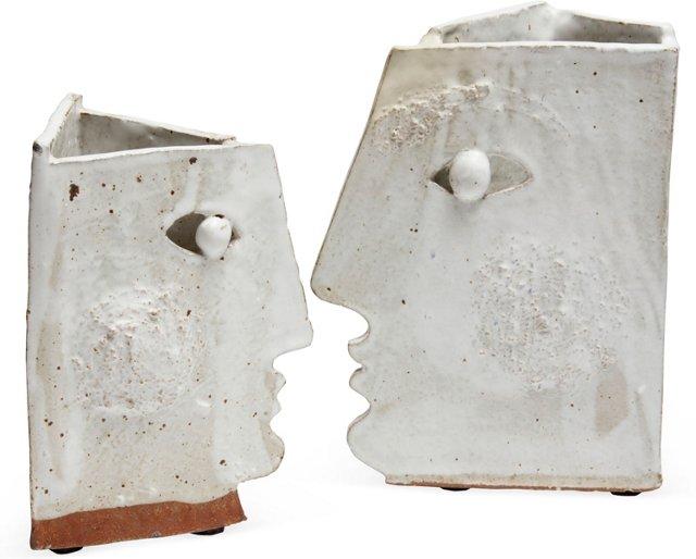 Cubist Face Vases, Pair