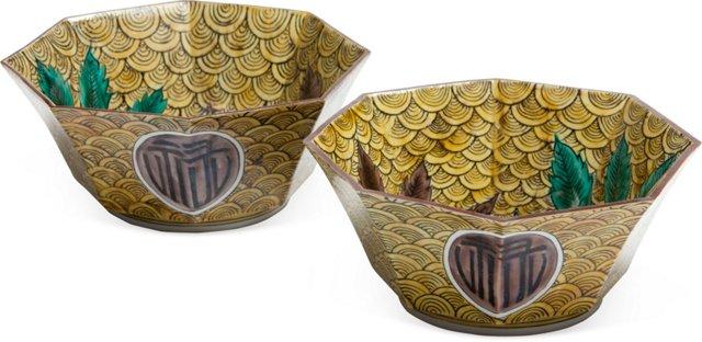 Japanese Palm Leaf Bowls, Pair