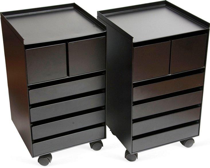 Black Metal Storage Cabinets, Pair