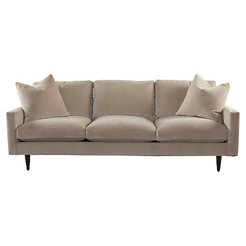 Oslo Sofa, Taupe Velvet Velvet