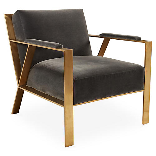 Bergen Chair, Gray Velvet