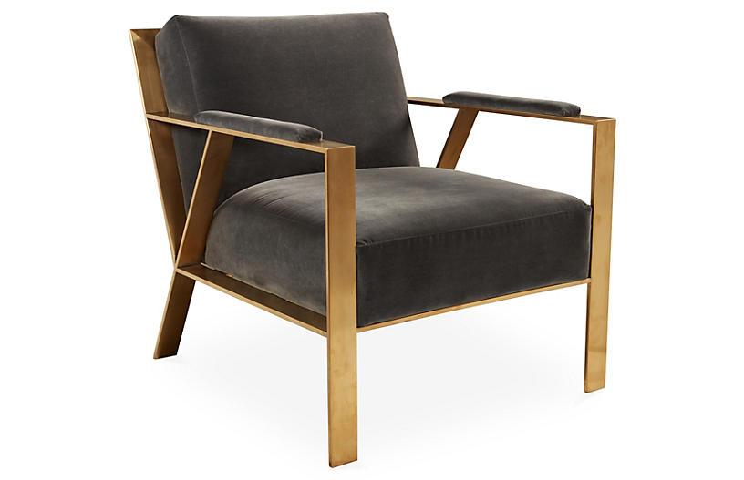 Baran Accent Chair, Gray Velvet