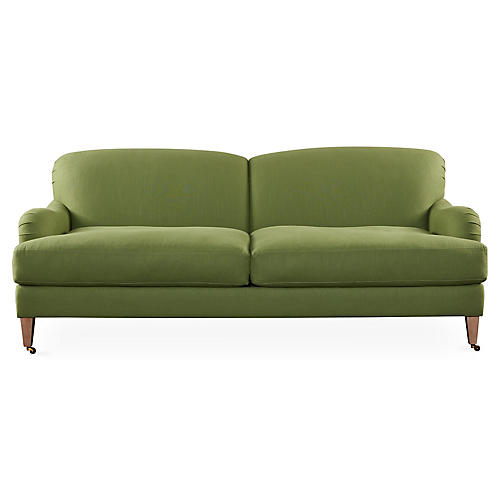 "Brampton 86"" Roll-Arm Sofa, Green"