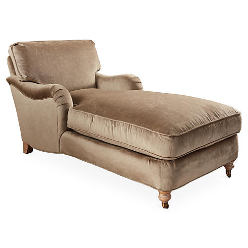 Brooke Roll-Arm Chaise, Beige Velvet
