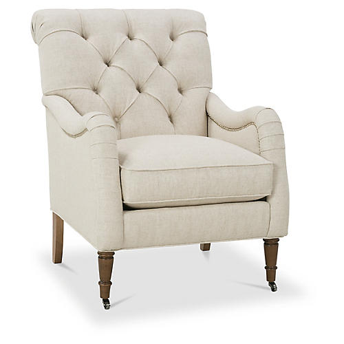Sofia Accent Chair, Natural Linen