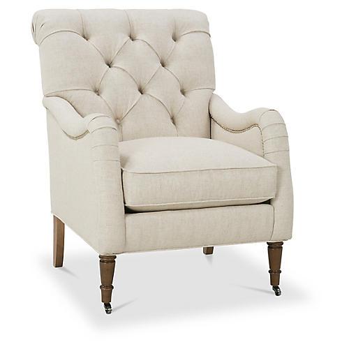 Saintil Tufted Accent Chair, Natural Linen