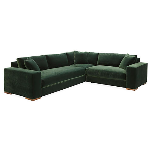 Maddox Right-Facing Sectional, Forest Green Velvet