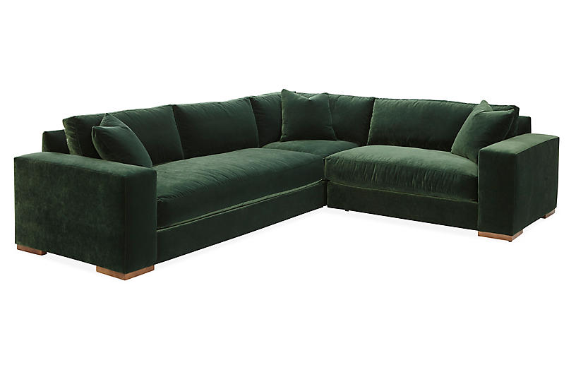 Mandel Sectional, Forest Green Velvet