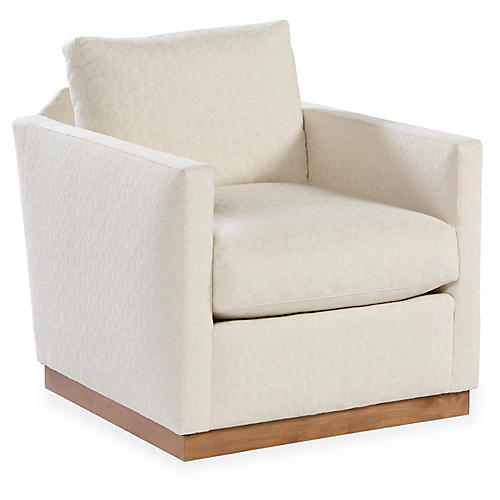 Allie Swivel Club Chair, Ecru