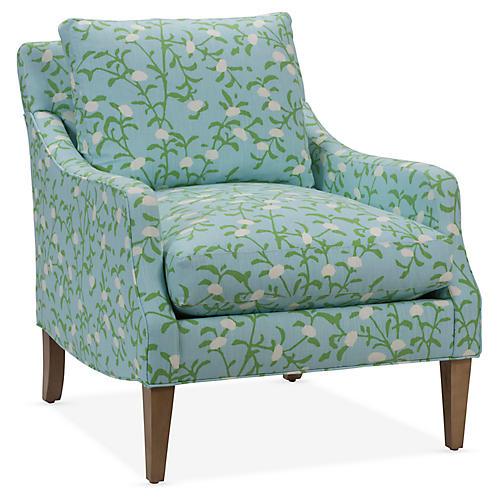 Mally Accent Chair, Mediterranean Blue