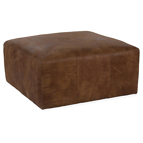 Miles Cocktail Ottoman, Caramel Leather