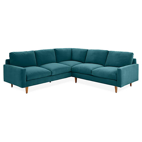 Oslo Left-Facing Sectional, Peacock Crypton Velvet