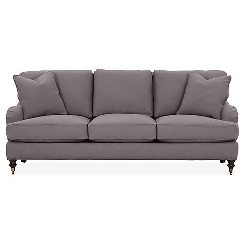 Brooke 3-Cushion Sofa, Charcoal Crypton