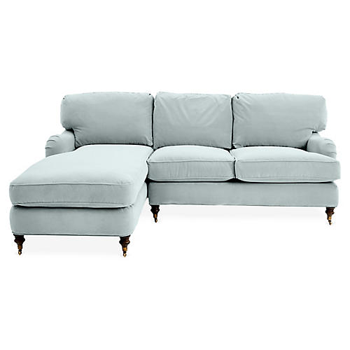 Brooke Left-Facing Sectional, Seafoam Velvet