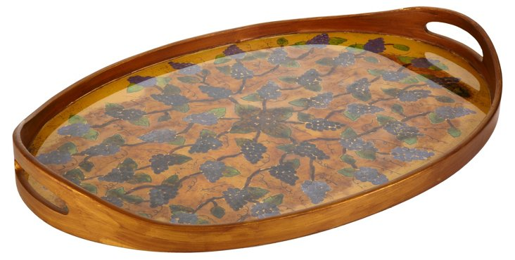 Oval Tray, Antique Grapes