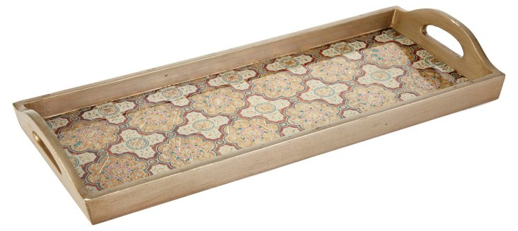 20x8 Tray w/ Handles, Cream/Multi