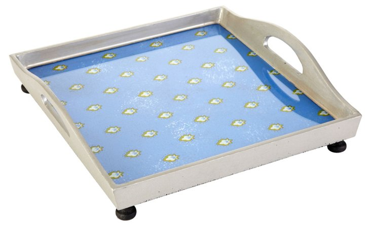 "12"" Square Tray w/ Ball Feet, Blue"