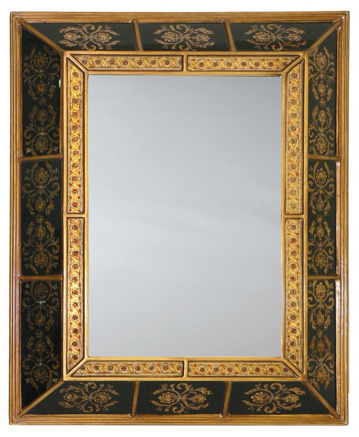 Andrew Wall Mirror, Black/Gold