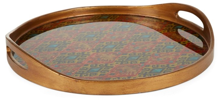 "18"" Round Glass Tray, Textura"