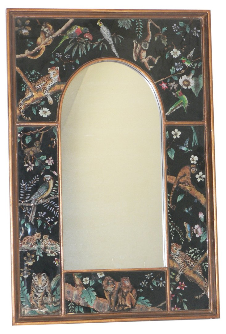 Semi Oval Wall Mirror, Jungle